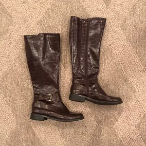 Dark brown faux leather riding boots